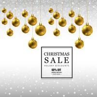 Fundo de venda feliz Natal com fundo de bola de Natal v vetor