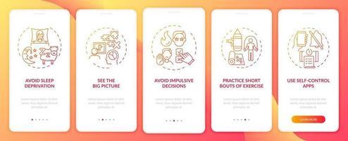 dicas de otimização de autocontrole tela vermelha da página do aplicativo móvel com conceitos vetor