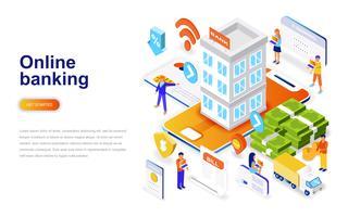 Conceito isométrico de design plano moderno de banca on-line. Banco eletrônico e conceito de pessoas. Modelo de página de destino.
