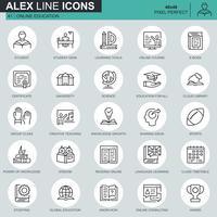 Ícones de educação e conhecimento de linha fina definido para site, site móvel e apps. Contém ícones como Curso On-line, Universidade, Estudar. 48x48 Pixel Perfeito. Curso editável. Ilustração vetorial.