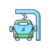 ônibus elétrico a caminho carregando ícone de cor rgb vetor