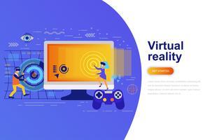 Bandeira de web moderna conceito plana de realidade virtual com caráter de pessoas pequenas decorados. Modelo de página de destino.