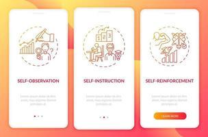 técnicas de autocontrole na tela vermelha da página do aplicativo móvel com conceitos vetor
