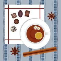 xícara de chá com canela e anis e bombons de chocolate vetor