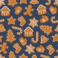padrão sem emenda de natal com diferentes biscoitos de gengibre vetor