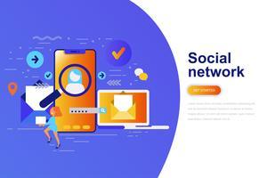 Bandeira de web de conceito moderno liso rede social com caráter de pessoas pequenas decorados. Modelo de página de destino.