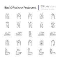 conjunto de ícones lineares de problemas de costas e postura vetor