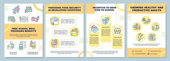 modelo de folheto de benefícios de programas de merenda escolar grátis vetor