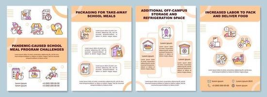 pandemia causada por modelo de folheto de desafios de programa de alimentação escolar vetor
