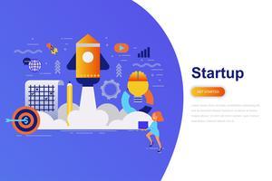Bandeira lisa da Web do conceito moderno da partida de negócio com caráter pequeno decorado dos povos. Modelo de página de destino.