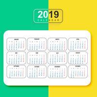 Vetor de modelo de calendário colorido moderno 2019
