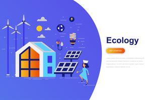 Bandeira de web de conceito moderno plana ecologia com caráter de pessoas pequenas decorados. Modelo de página de destino.