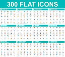 Conjunto simples de ícones plana de vetor. Contém ícones como Negócios, Marketing, Compras, Bancos, E-commerce, SEO, Tecnologia, Desenvolvimento, Finanças. 48x48 Pixel Perfeito. Pacote de pictograma plana.