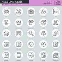 Ícones básicos de linha fina definida para site, site móvel e apps. Contém ícones como Portfólio, Serviços, Meta, Prêmios, Suporte. 48x48 Pixel Perfeito. Curso editável. Ilustração vetorial. vetor