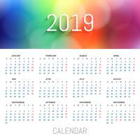 Belo fundo de modelo de calendário colorido de 2019 vetor