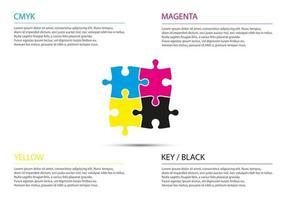 quebra-cabeça infográfico conceito de negócio com cores cmyk quatro peças do quebra-cabeça conectadas entre si ilustração vetorial simples moderna vetor