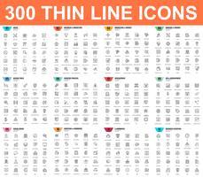 Conjunto simples de ícones de linha fina de vetor. Contém ícones como Negócios, Marketing, Compras, Bancos, E-commerce, SEO, Tecnologia, Desenvolvimento, Finanças. 48x48 Pixel Perfeito. Pacote de pictograma linear.