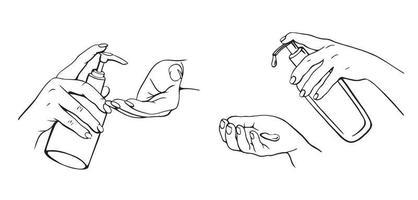 desinfecção das mãos. ilustração vetorial desenhada à mão. Frasco de álcool gel para limpeza e desinfecção. desinfetante de pressão manual. ilustração vetorial vetor
