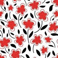 padrão sem emenda de flores de camomila vermelha em um padrão background.spring branco. ilustração em vetor plana