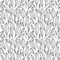 padrão sem emenda em estilo escandinavo. folhas brancas sobre um fundo preto. design minimalista e moderno para tecido, papel, impressão. ilustração vetorial. mão desenhada ilustração vetorial. vetor