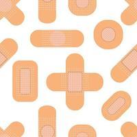 padrão sem emenda com emplastros médicos. padrão de remendo médico. ilustração vetorial plana. vetor