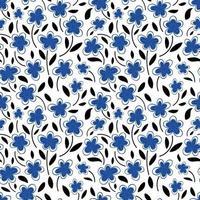 padrão sem emenda de flores de camomila azul em um padrão background.spring branco. ilustração em vetor plana