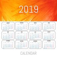 Vetor de modelo de calendário colorido de 2019
