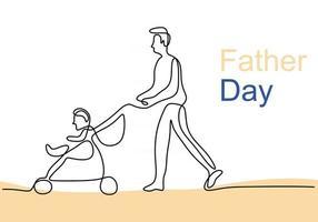 desenho de linha única contínua do jovem pai feliz empurrando o carrinho de bebê isolado no fundo branco vetor