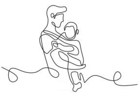 um desenho de linha contínua do jovem pai carregando seu filho vetor