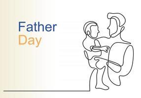 abraços de um pai com um filho desenho contínuo de uma linha vetor