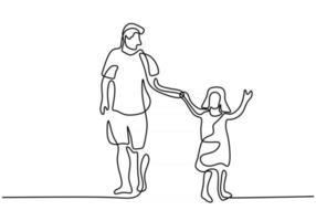 desenho de linha única contínua do jovem papai segurando a filha e caminhando juntos na rua vetor