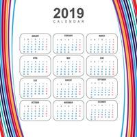 Modelo de calendário colorido moderno de 2019 com vetor de onda