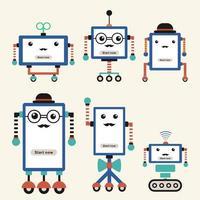 conjunto de robôs vintage fofos e hipster isolados no fundo branco vetor