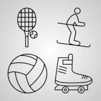 conjunto simples de ícones de linha de vetor de esportes e jogos