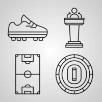 coleção de símbolos de esportes e jogos em estilo de contorno vetor