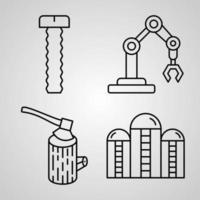 conjunto de ícones de linha de indústria coleção de símbolo vetorial em estilo moderno de contorno vetor