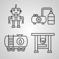 coleção de símbolos da indústria em estilo de contorno vetor
