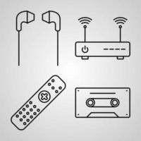 eletrônica e coleção de símbolos de dispositivos em fundo branco. eletrônicos e dispositivos delinear ícones vetor