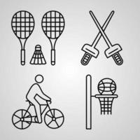 coleção de símbolos de esportes e jogos em fundo branco. esportes e jogos delinear ícones vetor