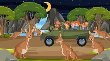 safári noturno cena com crianças assistindo grupo canguru vetor