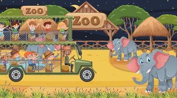 safári noturno com crianças observando um grupo de elefantes vetor