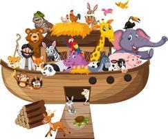 arca de noé com animais isolados no fundo branco vetor