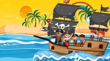 cena da ilha do tesouro na hora do pôr do sol com crianças piratas no navio vetor