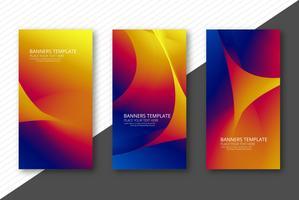 Bandeiras onduladas coloridas abstratas definir o design do modelo vetor