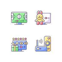 conjunto de ícones de cores rgb de serviços de transmissão vetor