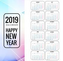 Modelo de calendário 2019 com fundo colorido polígono vetor