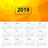 Modelo de calendário colorido bonito 2019 com polígono backgroun vetor