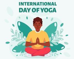 homem afro-americano meditando na posição de lótus - dia internacional da ioga vetor
