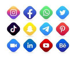 botão de logotipo de mídia social vetor