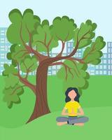 mulher fazendo ioga em vetor da natureza